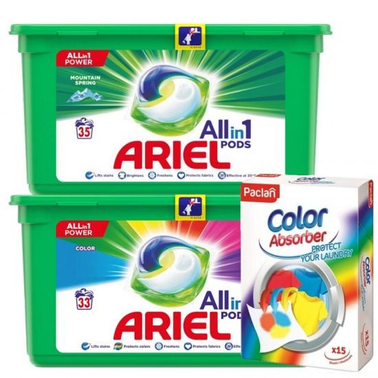 VÝHODNÝ BALÍK 1x Ariel pods 35ks Mountain Spring + 33ks Color + 1x Paclan Color catcher