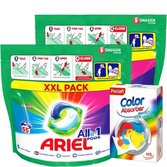 VÝHODNÝ BALÍK 2x Ariel pods 55ks Color + 1x Paclan Color Catcher