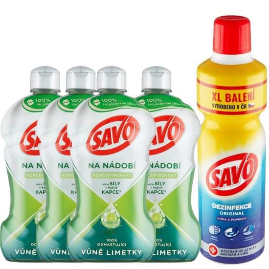 VÝHODNÝ BALÍK Savo Na umývanie riadu 450ml 4ks  a Dezinfekcia vody a povrchov 1,2l 1ks